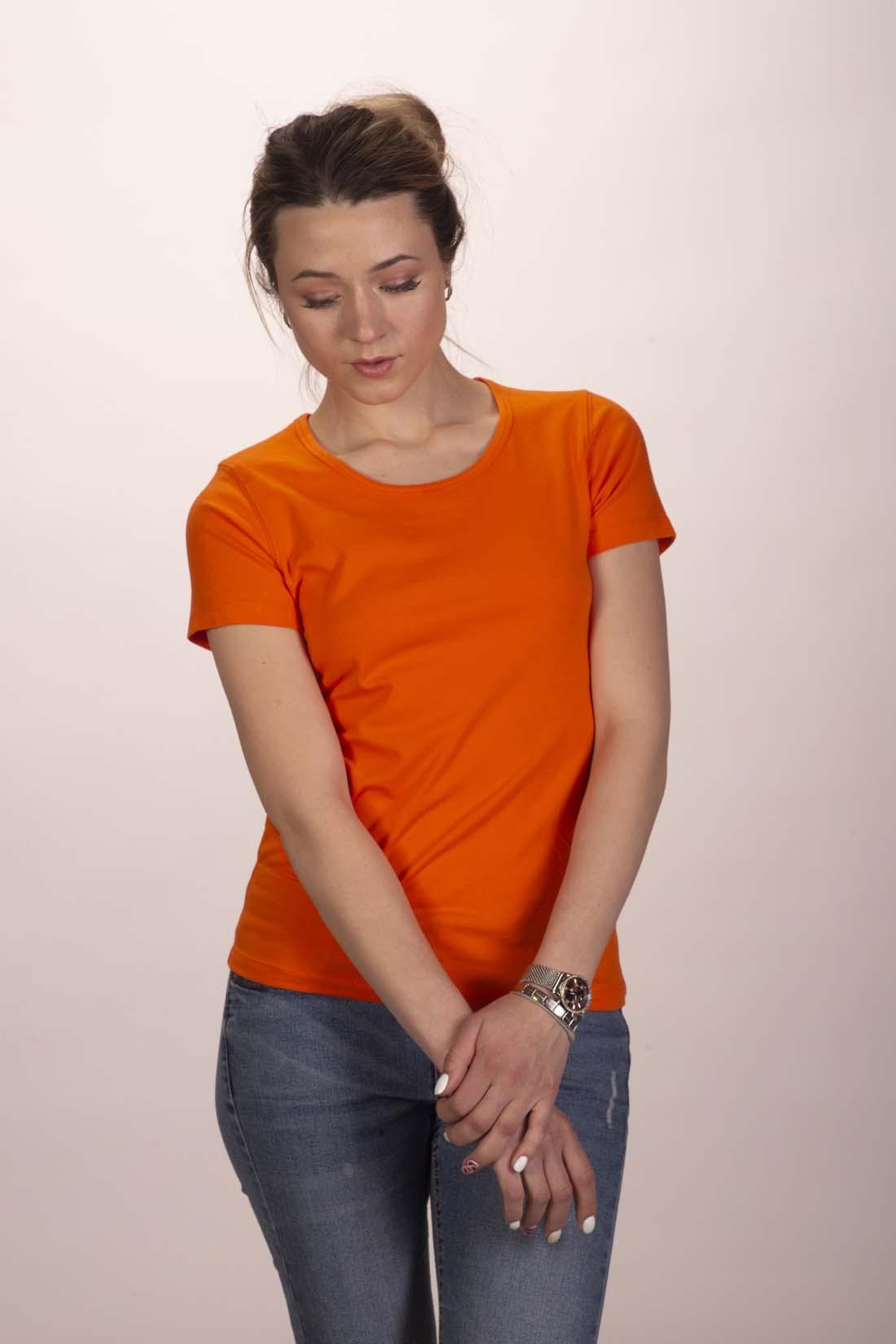 Футболка женская оранжевая 1