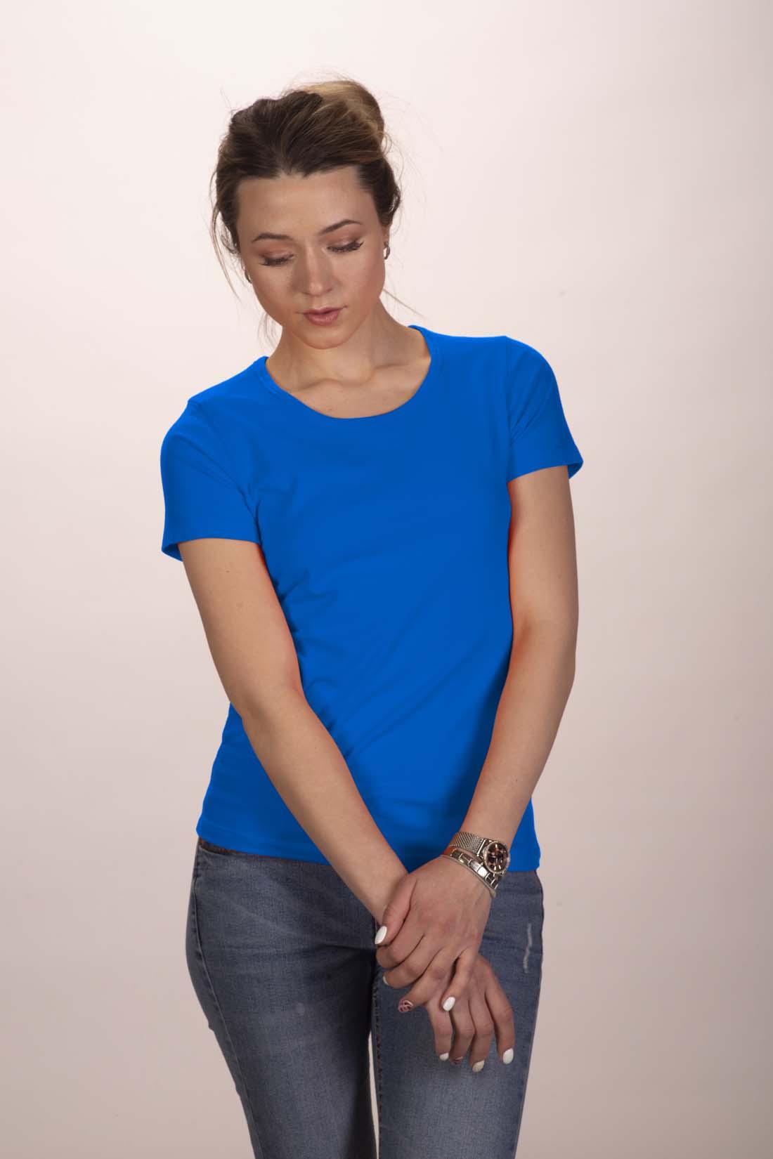 Футболка женская синяя (стрейч) 1