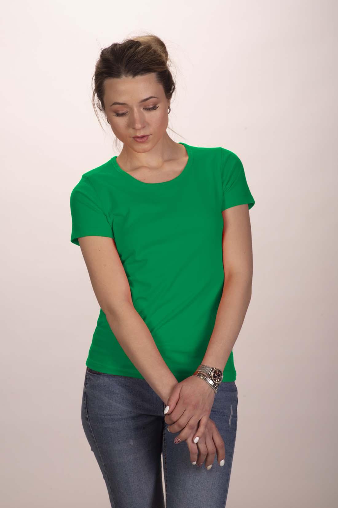 Футболка женская зелёная (стрейч) 1