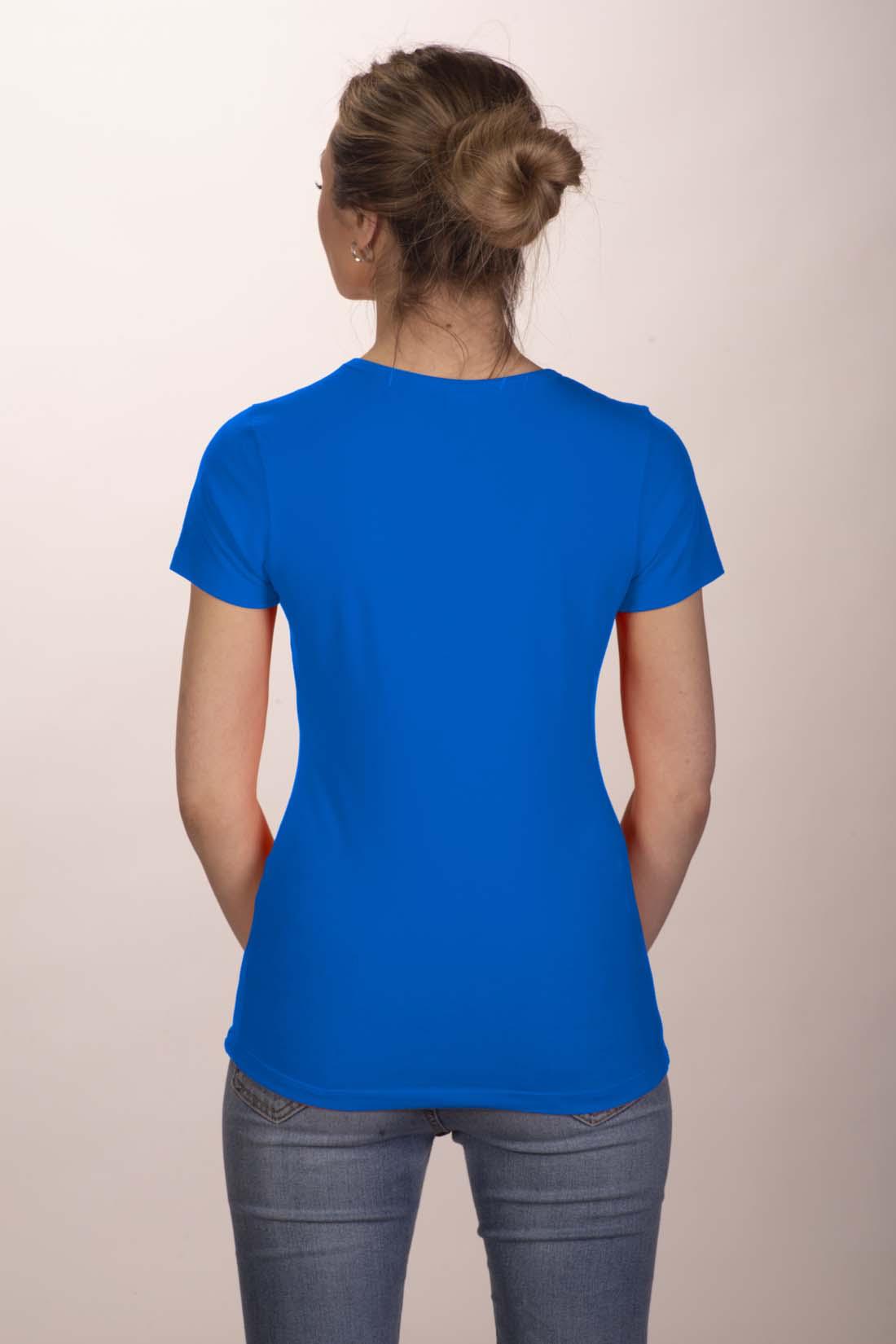 Футболка женская синяя (стрейч) 2