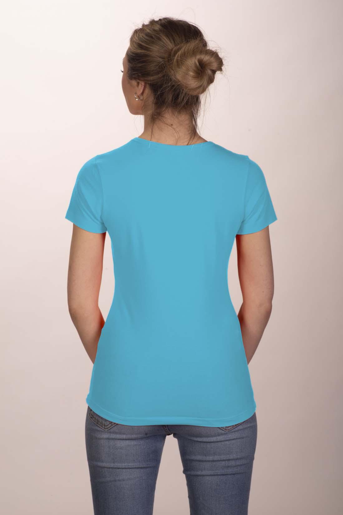 Футболка женская голубая (стрейч) 2