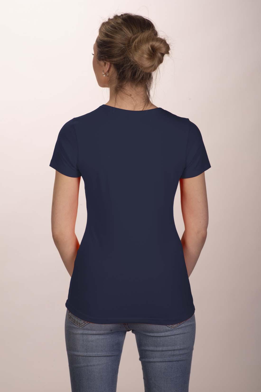 Футболка женская темно - синяя (стрейч) 2