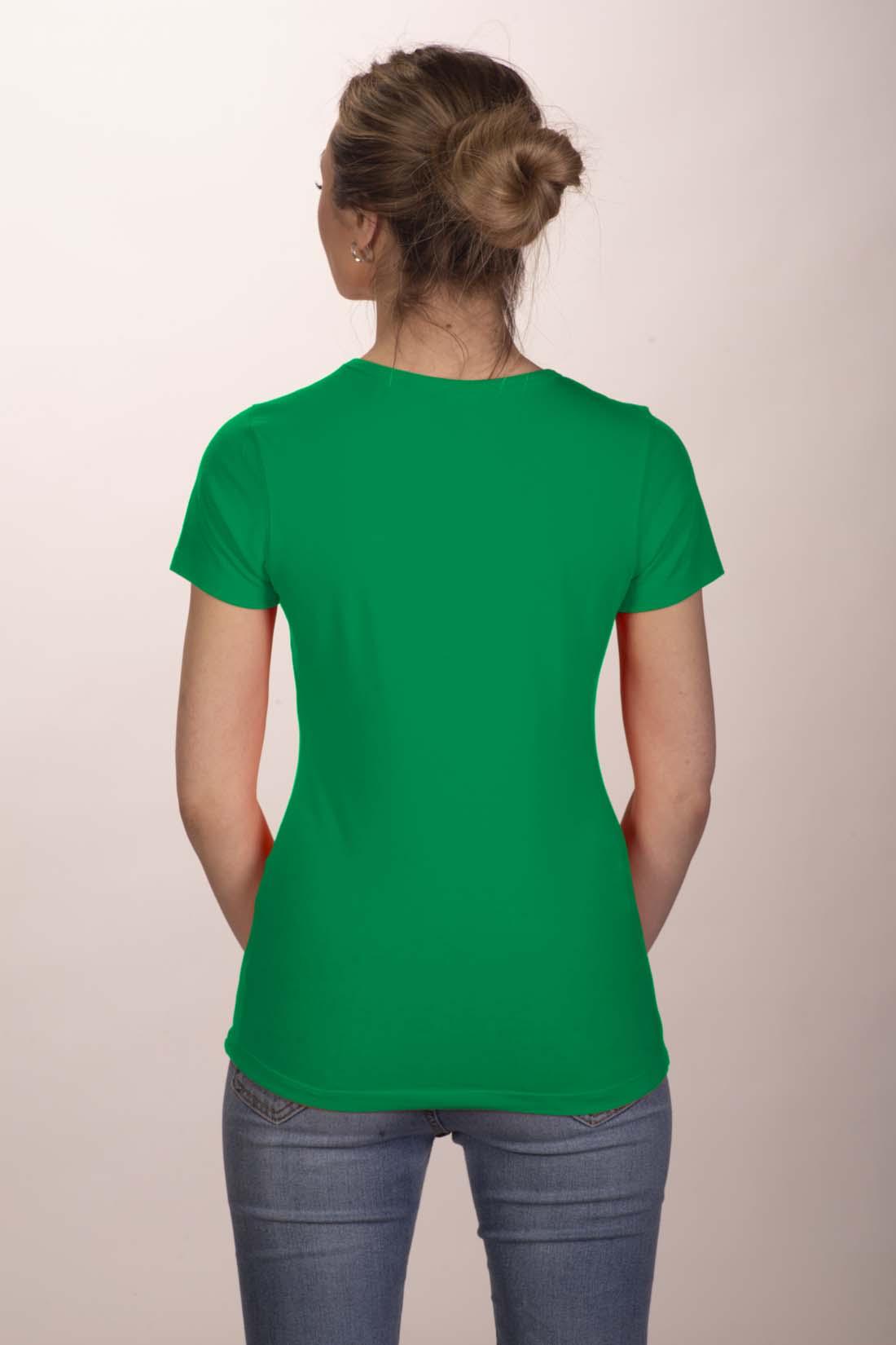 Футболка женская зелёная (стрейч) 2