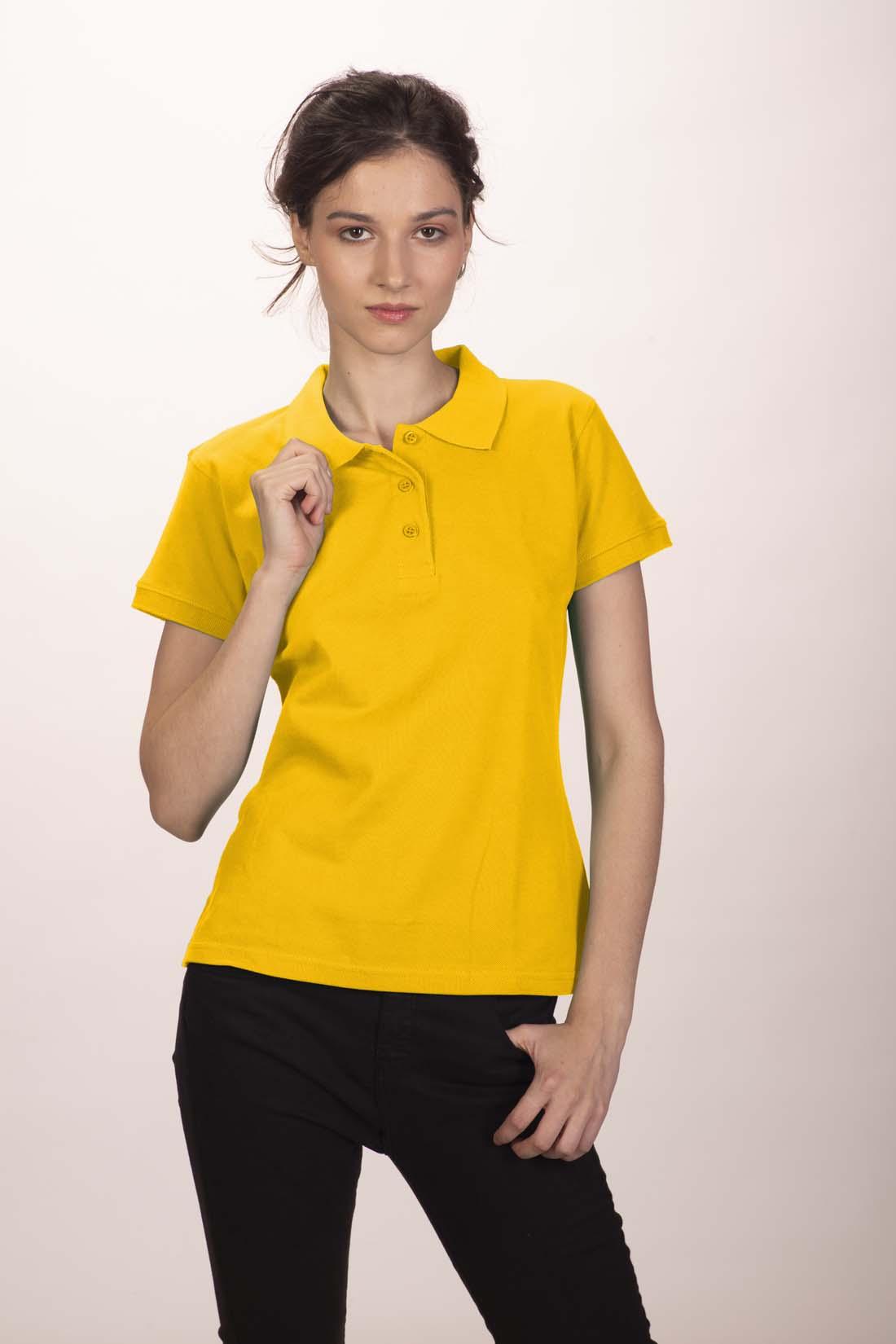 Поло женское желтое