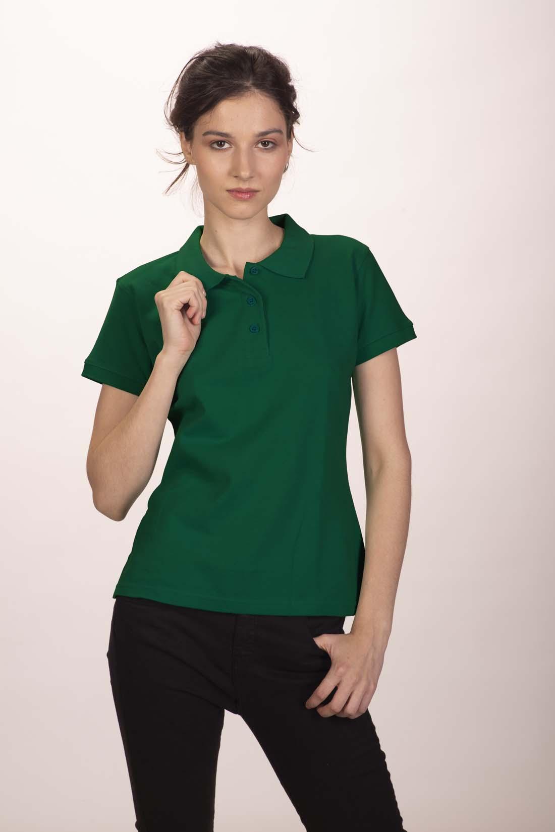 Поло женское тёмно - зелёное