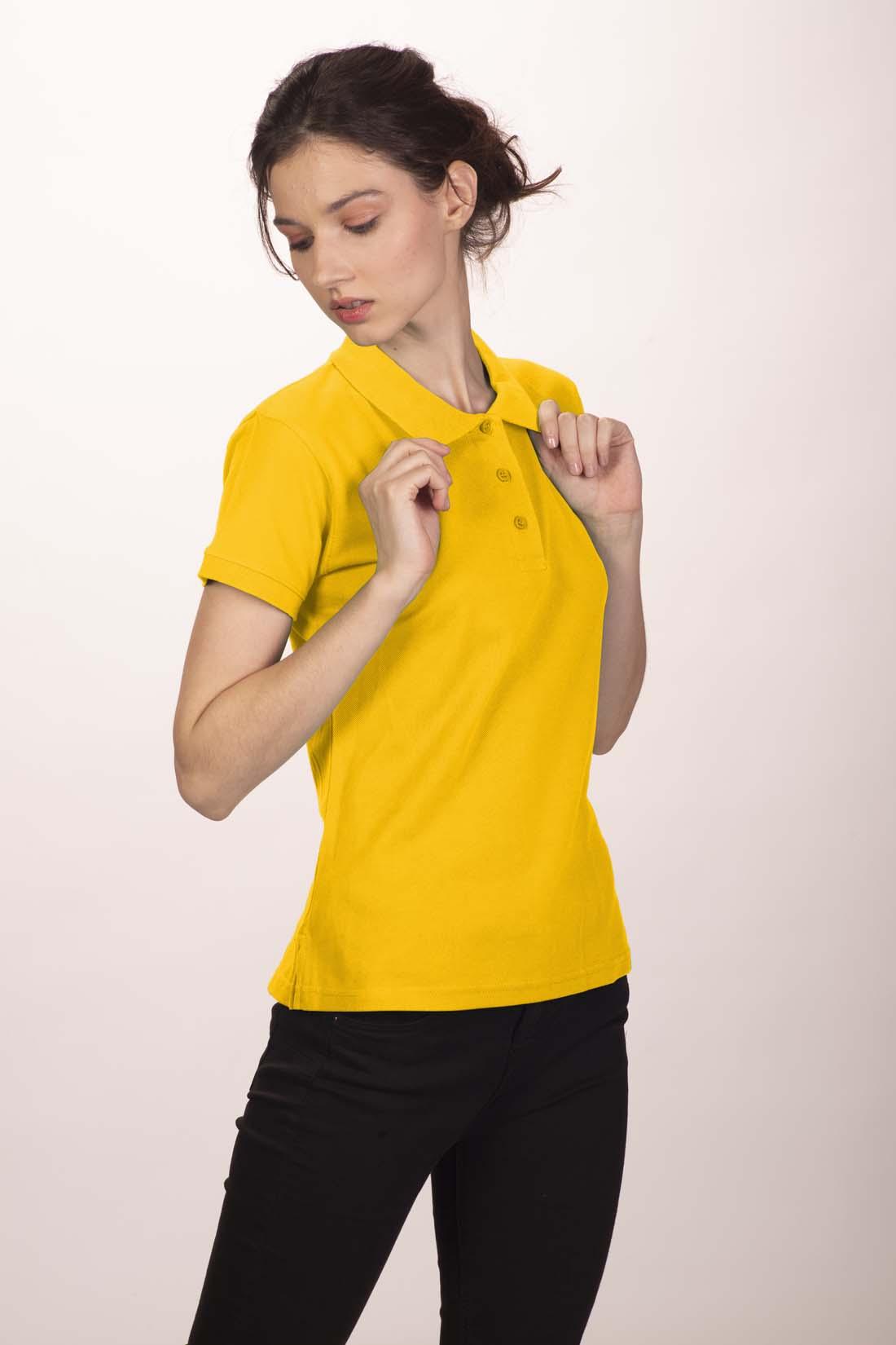 Поло женское желтое 4