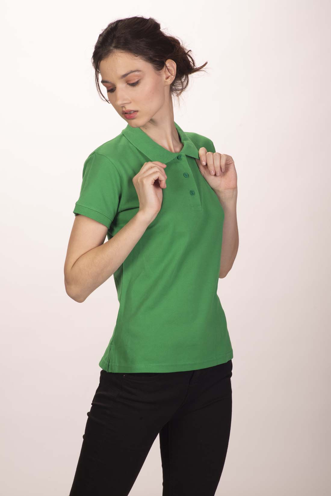 Поло женское зелёное 4
