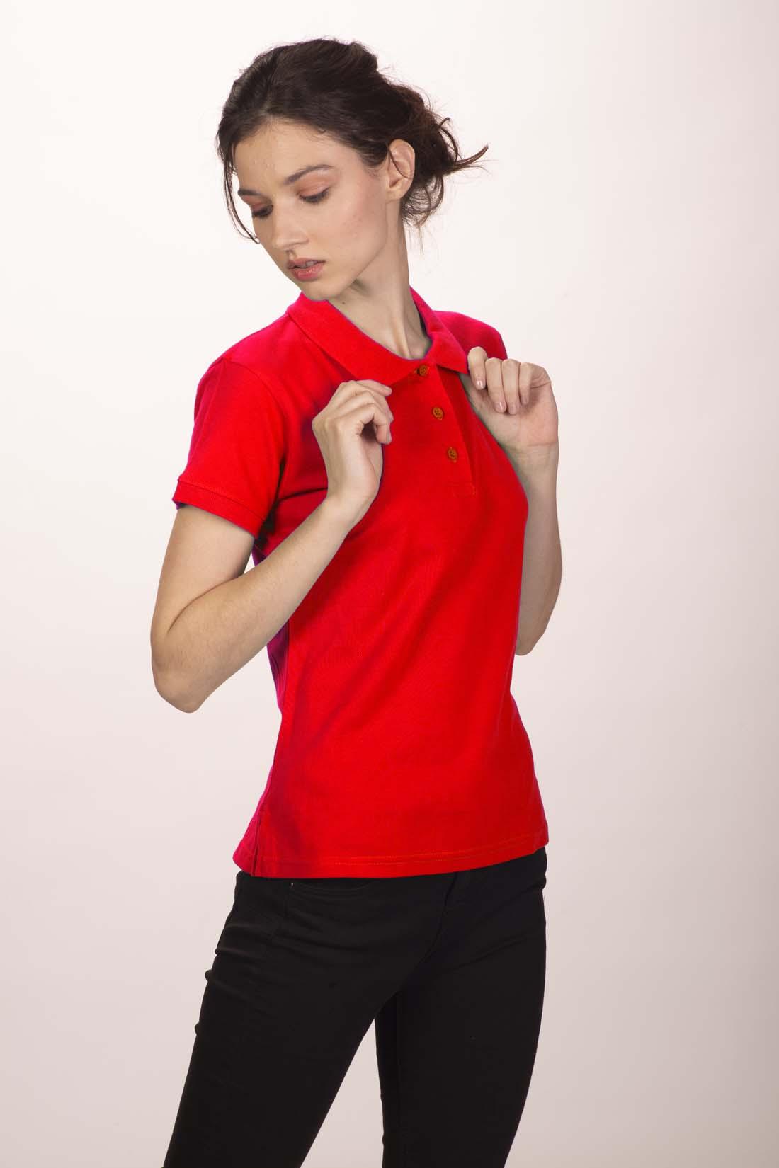 Поло женское красное 3
