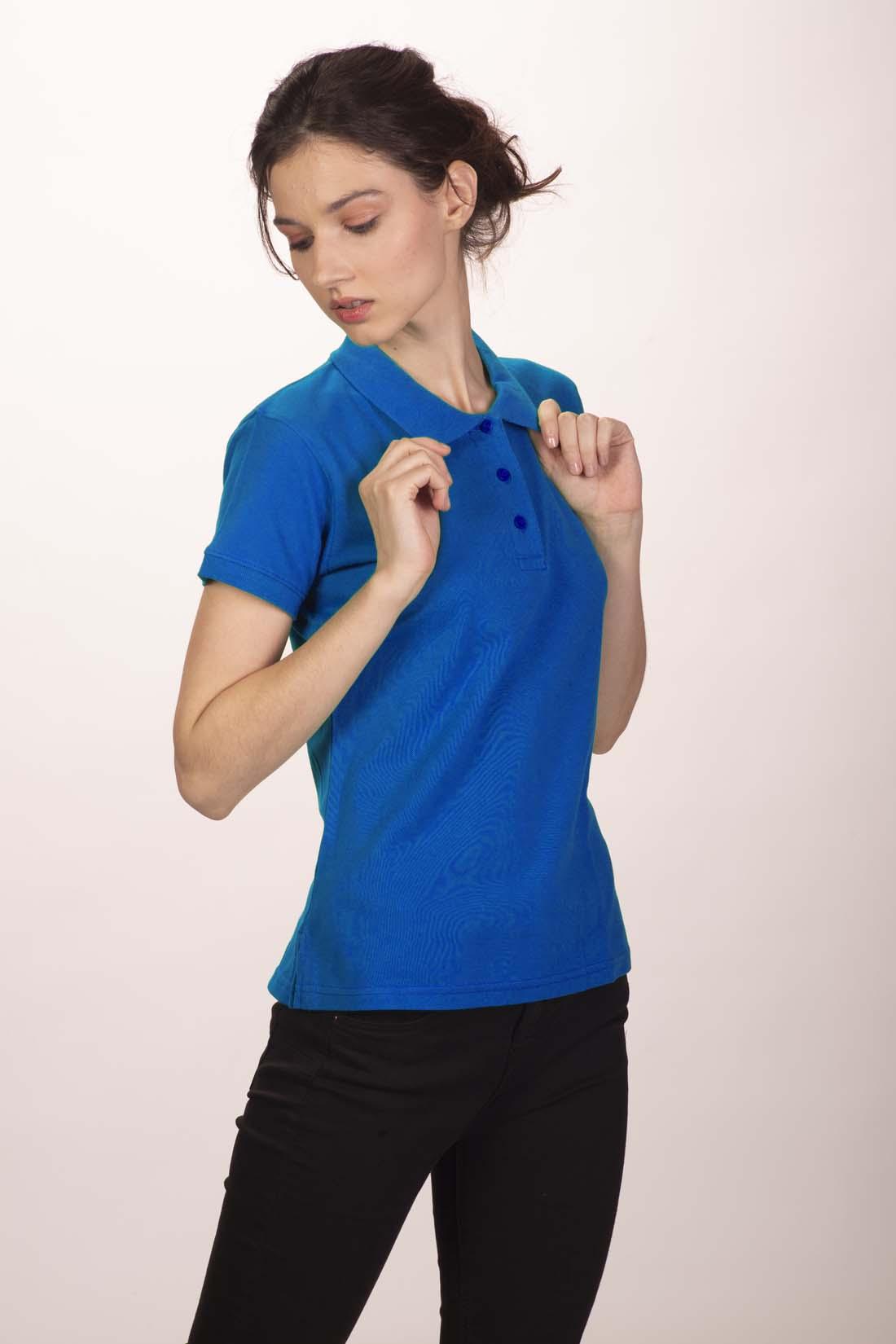 Поло женское синее 3