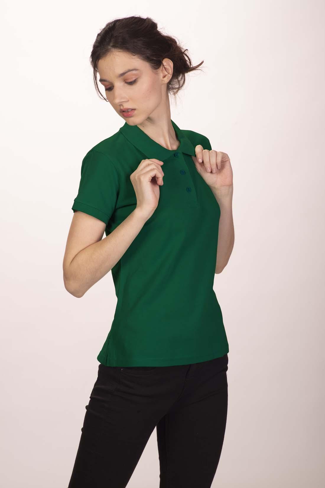 Поло женское тёмно - зелёное 4
