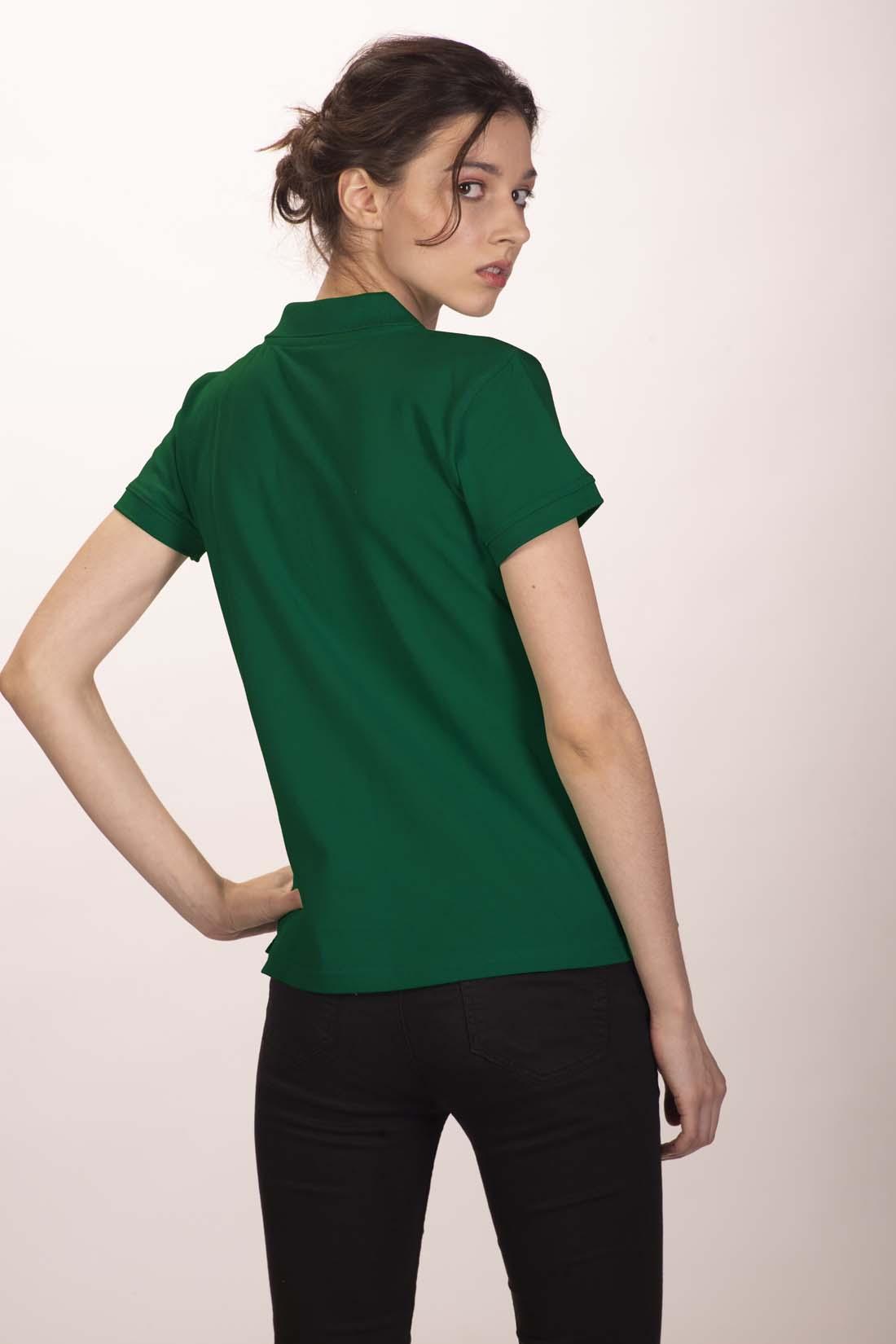 Поло женское тёмно - зелёное 3