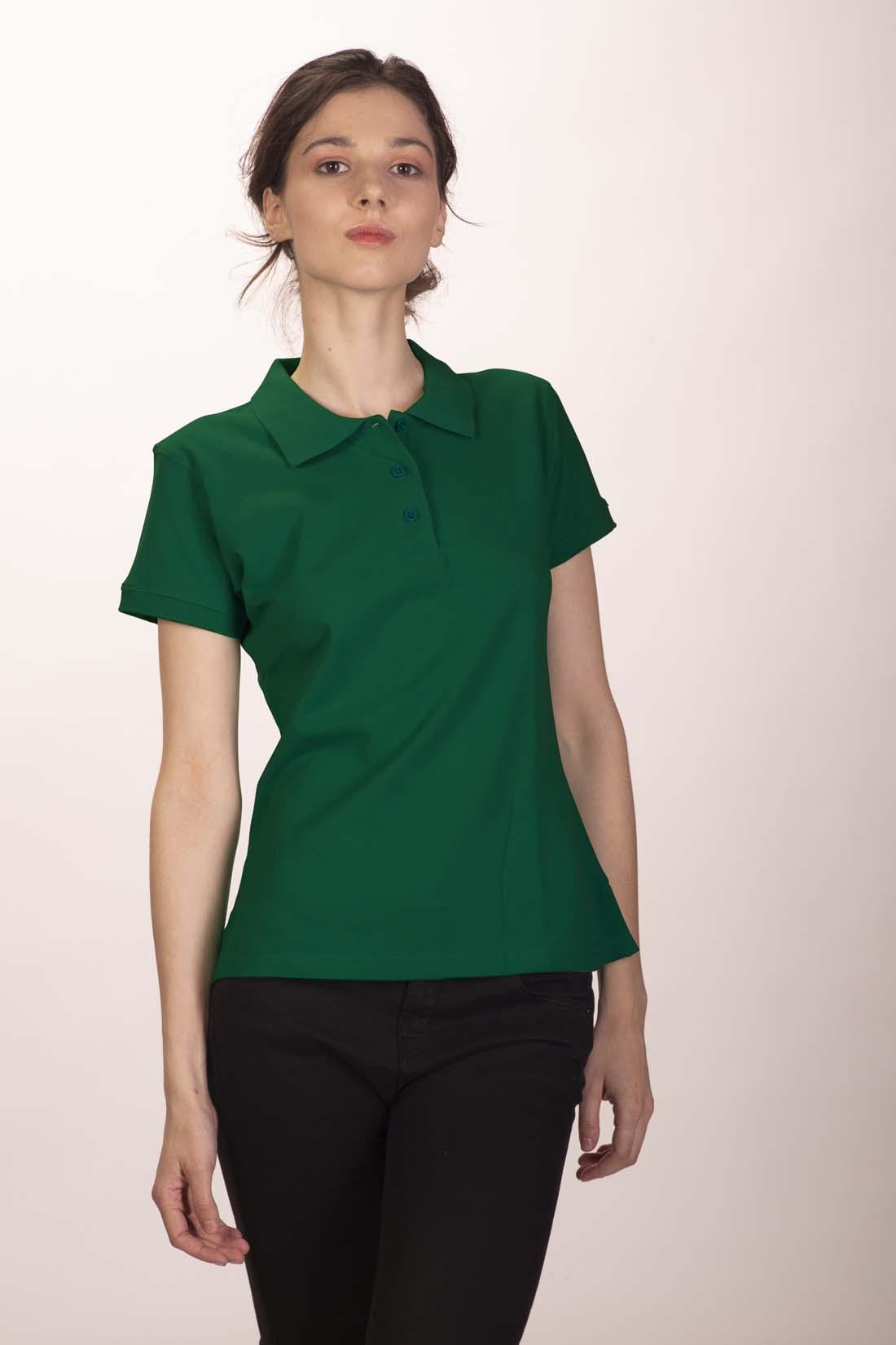 Поло женское тёмно - зелёное 2